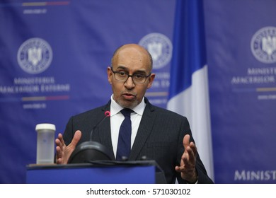 BUCHAREST, ROMANIA  - January 30, 2017: Harlem Desir, French Secretary of State for European Affairs speaks at a press conference.