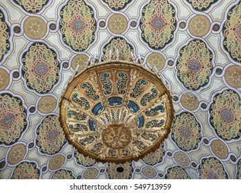 Bucharest, Romania, January 31, 2016: Decorative elements inside the Coral Temple in Bucharest.