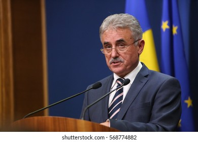BUCHAREST, ROMANIA  - January 31, 2017: Romanian Minister of Public Finance, Viorel STEFAN, speaks at a press conference.