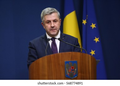 BUCHAREST, ROMANIA  - January 31, 2017: Romanian Minister of Justice, Florin IORDACHE, speaks at a press conference.