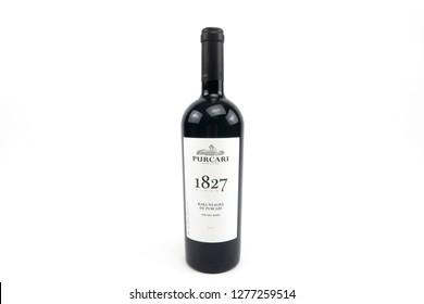 Bucharest, Romania: January 6, 2019: Bottle of Chateau Purcari - red wine