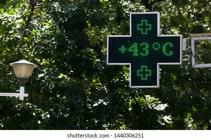 Bucharest, Romania - July 02, 2019: 43 degrees celsius (109.4 fahrenheit) is the temperature displayed by a digital thermometer on a hot summer outside a pharmacy. This image is for editorial use only
