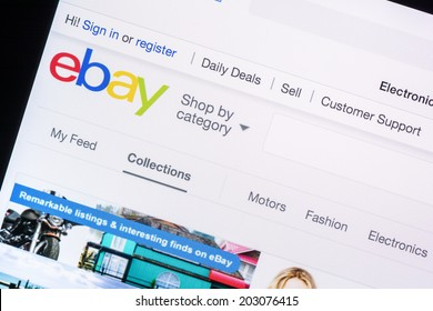 BUCHAREST, ROMANIA - JULY 06, 2014: eBay Website On Apple iPad Air Tablet. Founded in 1995 is an online auction and shopping website in which people buy and sell goods and services worldwide.