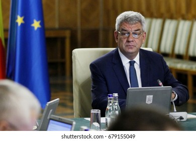 Bucharest, Romania - July 06, 2017: Mihai Tudose, Prime Minister of Romania, heads the government meeting at Victoria Palace in Bucharest, Romania. July 06, 2017