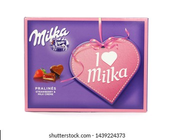 BUCHAREST, ROMANIA - JUly 1, 2019. Box of Milka pralines. These heart-shaped I Love Milka chocolates are made from Alpine milk chocolate, with strawberry cream in the center