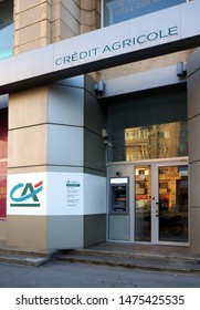 BUCHAREST, ROMANIA - JULY 1, 2019: Credit Agricole branch in downtown Bucharest.