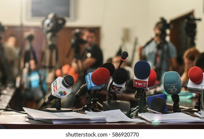 Bucharest, Romania, July 14, 2009: Microphones and video cameras in the background in a press conference in Bucharest.