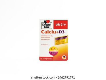 Bucharest, Romania - July 14th, 2019: Doppelherz aktiv Calcium and Vitamin D3, 30 pills on isolated background.