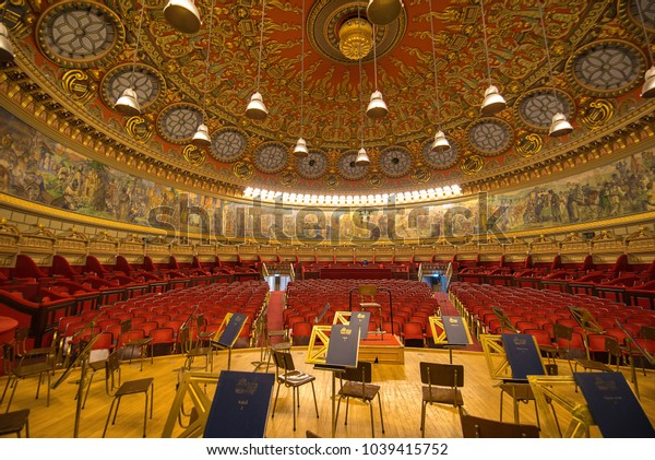 Bucharest, Romania - July 17, 2018: Interior of the cozy and impressive concert hall in Romanian Athenaeum (Ateneul Roman or Romanian Opera House) in Bucuresti, Romania. Shot from the stage
