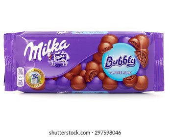BUCHAREST, ROMANIA  JULY 18, 2015. Milka Bubbly Chocolate bar, aerated alpine milk chocolate marketed by Mondelez International. Milka is the first milk chocolate bar in the world.