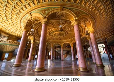 Bucharest, Romania - July 18, 2018: Interior of the lobby of the cozy and impressive concert hall in Romanian Athenaeum (Ateneul Roman or Romanian Opera House) in Bucuresti, Romania