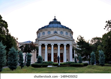 Bucharest, Romania - July 19, 2019. The Romanian Athenaeum in the center of Bucharest