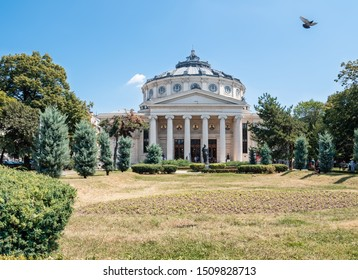 Bucharest, Romania, July 20, 2019. Romanian Athenaeum and gardens, in the historical center of the city, during a musical event