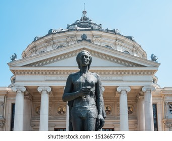 Bucharest, Romania, July 20, 2019. Romanian Athenaeum , in the historical center of the city.Statue of woman located in front of the building