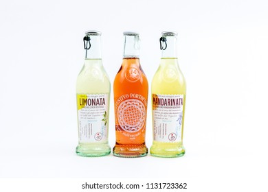 Bucharest, Romania: July 2018: Three Bottles of Festivo Portofino refreshing drink, based on ginger, cedar and apple. Niasca Portofino, a company founded by residents and patrons of Portofino.