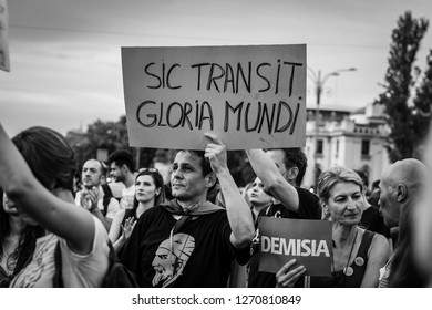BUCHAREST, ROMANIA – July 20,2018:Unknown demonstrators protesting against corruption in a march,BUCHAREST, ROMANIA – July 20,2018