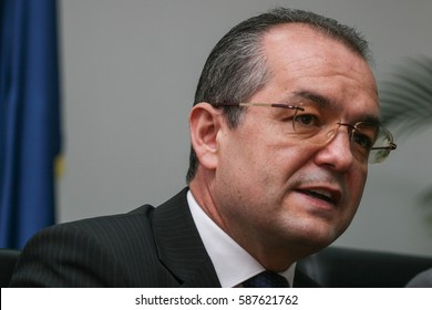 Bucharest, Romania, July 22, 2009: Emil Boc, the mayor of Cluj-Napoca city speaks in a press conference in Bucharest.