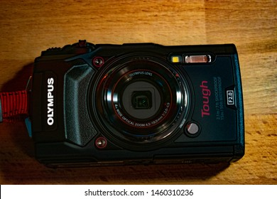 Bucharest / Romania - July 24, 2019: Olympus Tough TG-5 - A shockproof, waterproof indestructible budget compact camera