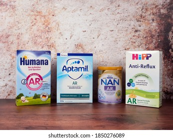 Bucharest, Romania - July 26 2020: Various anti-reflux infant milk brands sold in Romania. Special thickened AR milk formula for the relief of gastric reflux and regurgitation.