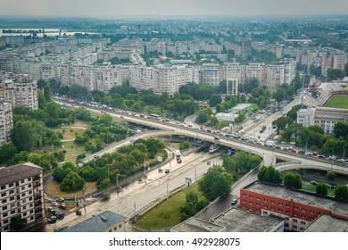 "BUCHAREST, ROMANIA - July 27, 2016: ""Podul Grant"" Bucharest, Romania - heavy  traffic aerial view"