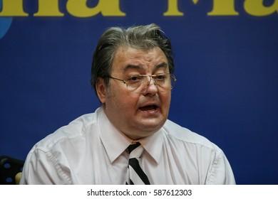 Bucharest, Romania, July 3, 2009: Corneliu Vadim Tudor speaks in a press-conference of Romania Mare Party in Bucharest.