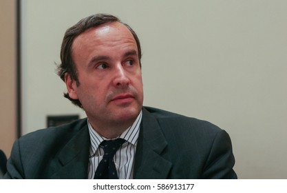 Bucharest, Romania, July 6, 2009: Franco Frattini participates in a press conference in Bucharest.