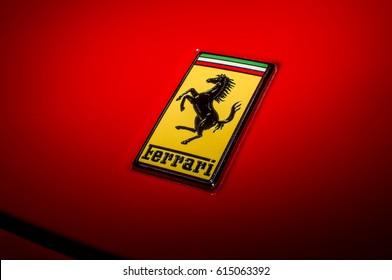 BUCHAREST, ROMANIA - Jun 18 2016 Ferrari Italia Sign Close Up