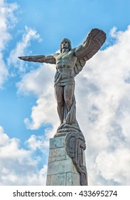 Bucharest, Romania - June 02, 2016: The Monument to the Heroes of the Air, located in the Aviators' Square, was built between 1930 and 1935 and depicts a flying man with his wings outstretched