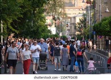 "Bucharest, Romania - June 02, 2018: Crowd on Calea Victoriei during the fourth edition of ""Walking on Calea Victoriei"" (La pas pe Calea Victoriei)."