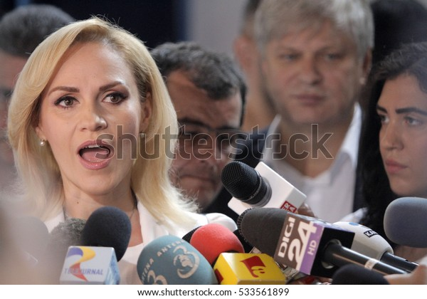 BUCHAREST, ROMANIA -June 05, 2016: Gabriela Firea, the candidate of Social Democrat Party (PSD) for Bucharest Mayor, speaks to press during the local elections.