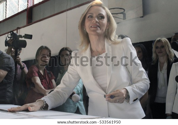 BUCHAREST, ROMANIA - June 05, 2016: Gabriela Firea, the candidate of Social Democrat Party (PSD) for Bucharest Mayor casts her vote in local elections.