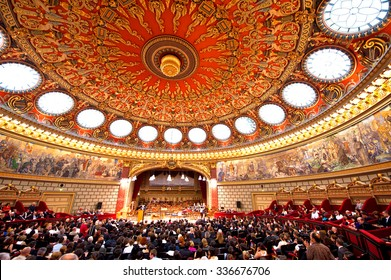BUCHAREST, ROMANIA - JUNE 06, 2012: The Romanian Athenaeum George Enescu opened in 1888 is a concert hall in the center of Bucharest, on june 06, Bucharest Romania