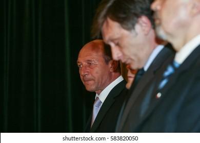 Bucharest, Romania, June 11, 2009: Romanian president Traian Basescu participates to an awarding ceremony for European parliamentary.