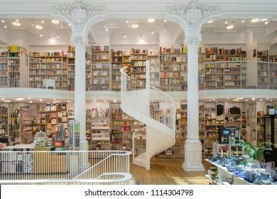 Bucharest, Romania - June 12, 2018: Interior of the Carturesti Carusel bookshop, located in the old city center Lipscani - Buacharest