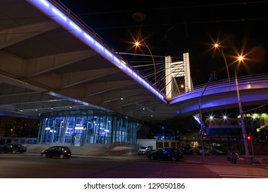 BUCHAREST, ROMANIA - JUNE 14: Basarab Bridge by night on June 14, 2012 in Bucharest, Romania. Basarab Bridge is the largest infrastructure in Romania within last 20 years.