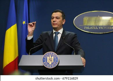 Bucharest, Romania - June 15, 2017: Romanian Prime Minister Sorin Grindeanu speaks during a press conference in Bucharest. Grindeanu heads a government without ministers after their resignation.