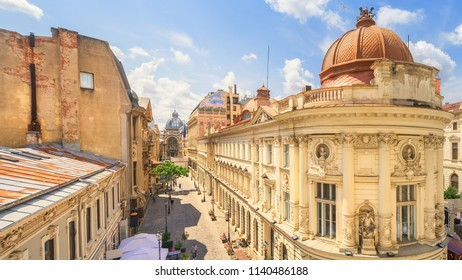 Bucharest, Romania - June 17, 2018: Old Town of Bucharest at a sunny summer day