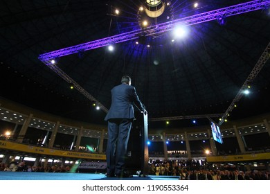 Bucharest, Romania - June 17, 2018: Ludovic Orban speaks during the Congress of the National Liberal Party where he was elected president of the PNL, in Bucharest.