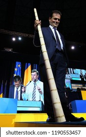 Bucharest, Romania - June 17, 2018: Ludovic Orban, holding in the hand a Romanian type of alphorn named tulnic, is the new president elected of the National Liberal Party, held in Bucharest.