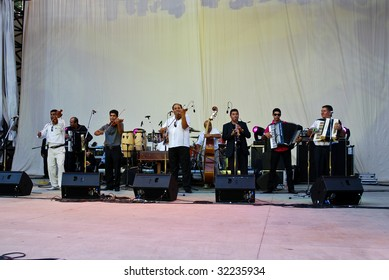 BUCHAREST, ROMANIA - June 17 : Taraf De Haidouks performs at Herastrau Summer Theater on June 17, 2009 in Bucharest, Romania.