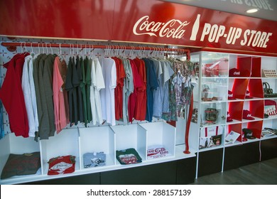 BUCHAREST, ROMANIA - June 18,2015: To celebrate the 100th birthday of the Coca-Cola contour bottle, a pop-up store will be open between June 18 to 24 at University Square in Bucharest.