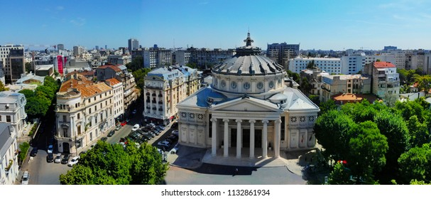BUCHAREST, ROMANIA, June 19, 2018. Panoramic aerial view of Romanian Athenaeum in Central Bucharest, created by DJI Mavic Air drone.