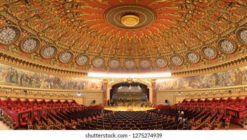 Bucharest, Romania - June 19, 2019: Inside Interior and ceiling of the cozy and impressive concert hall in Romanian Athenaeum (Ateneul Roman or Romanian Opera House) in Bucuresti. Panorama