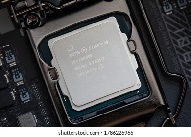 Bucharest, Romania - June 1st, 2020: View of an Intel Core i9 10th Generation proccessor. Intel Core is a line of mid- to high-end consumer, workstation, and enthusiast central processing units.