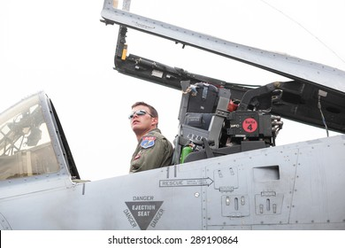 Bucharest, Romania - June 20, 2015: Color picture a pilot in an A10 fighter airplane during an airshow