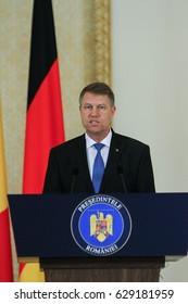 BUCHAREST, ROMANIA, June 20, 2016: Romanian president Klaus Iohannis speaks during an official meeting with the German president Joachim Gauck in Bucharest.
