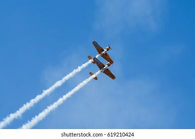 Bucharest, Romania, June 2016: Acrobatic planes at Bucharest International Air Show BIAS.  Photo taken on: June 25th, 2016