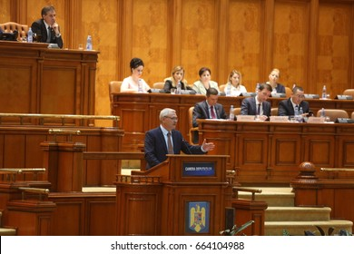 BUCHAREST, ROMANIA - June 21, 2017: Liviu Dragnea, President of Social Democrat Party speaks in front of Parliament during a no-confidence vote against Sorin Grindeanu's Cabinet.