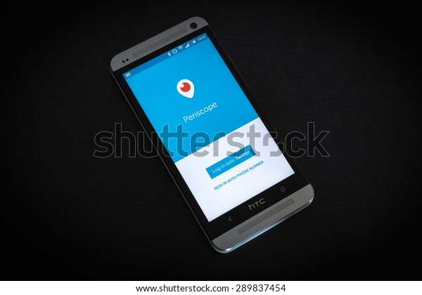 Bucharest, Romania - June 23, 2015: Periscope app log in screen on a mobile smartphone. Periscope is made by Twitter - lets you broadcast live video to the world.