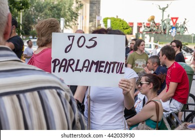 Bucharest, Romania - June 23, 2016 - Protests at University Square against the Romanian Parliamnent